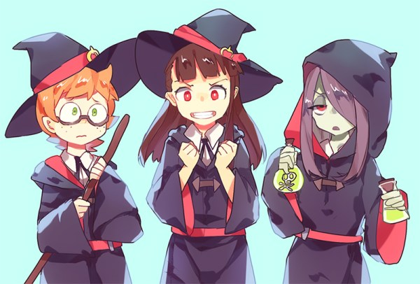 Lotte, Akko, and Sucy stand in a line