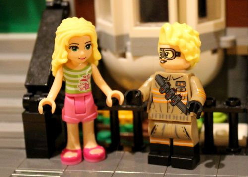 A minidoll next to a minifigure