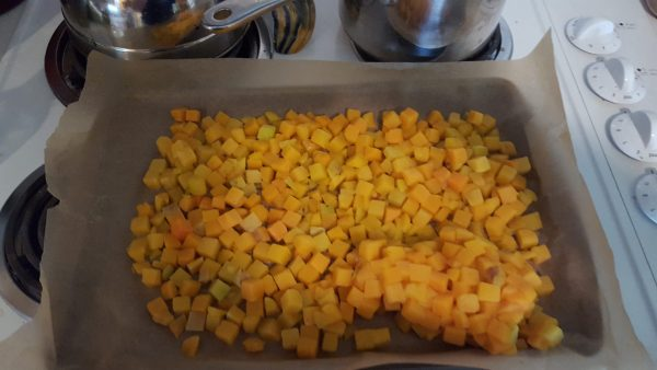 a pan of cubed squash to be roasted