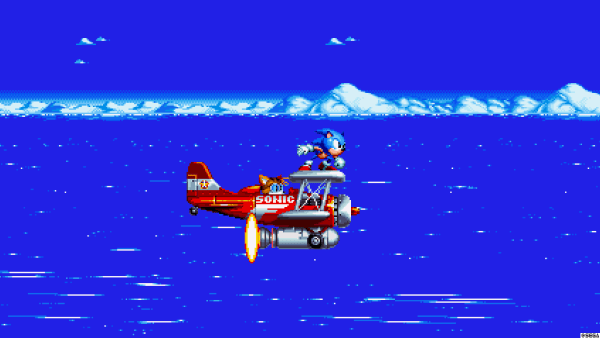 Sonic and Tails fly over the water