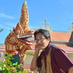 Picture of author with traditional Southeast Asian naga in Modesto, California