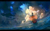 Straw Hat Pirates Second Ship, the Thousand Sunny sailing on the ocean