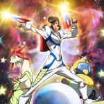 Promotional image for Space Dandy depicting the three principal characters