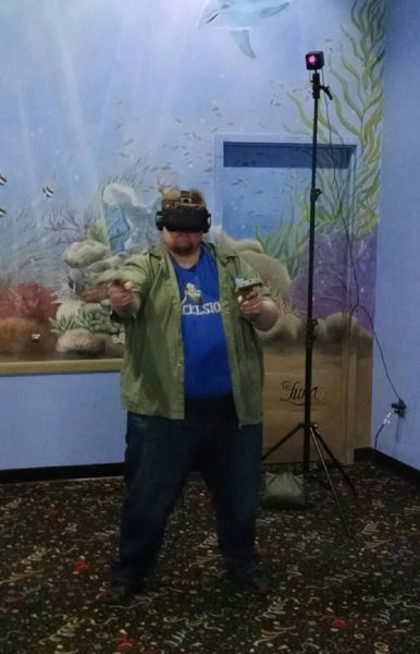 The author testing the VR game