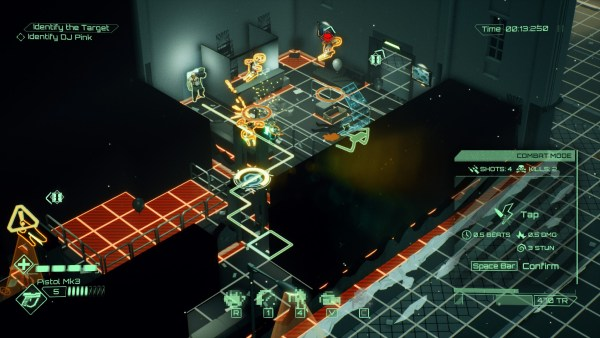 Gameplay screenshot of the combat system in All Walls Must Fall, detailing the grid mechanics of the map.