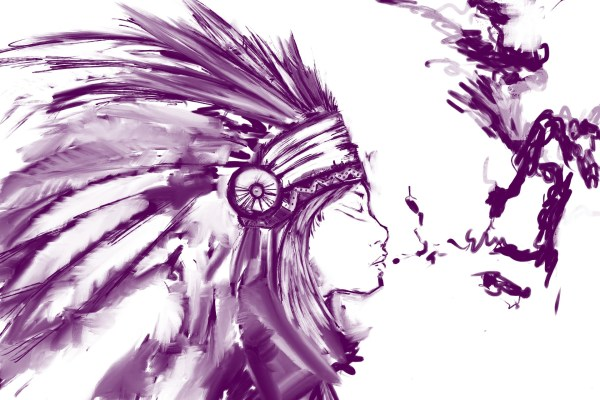 Sketch of a girl wearing a Native American headdress