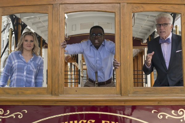 "Scene featuring characters from The Good Place working out ""the Trolley Problem."""