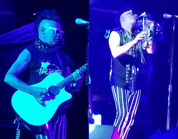 Left, Daniel Ash playing acoustic guitar. Right - Daniel Ash playing saxaphone
