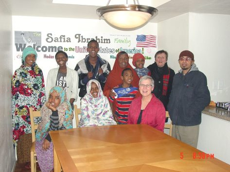 Abdi and her family celebrating their arrival to the US from the Sheder refugee camp in Ethiopia.