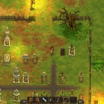 Screenshot from Graveyard Keeper featuring the player and graveyard.