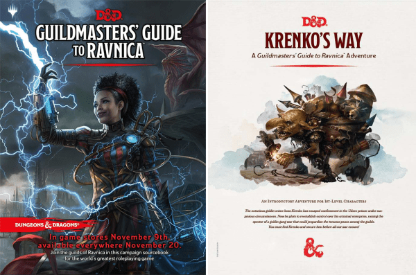 "Dungeonmasters' Guide to Ravnica and ""Krenko's Way"" covers"