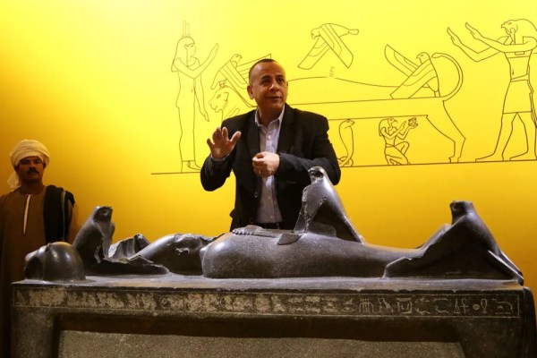 Mostafa Waziry with Osiris artifact