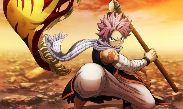 Natsu holding Fairy Tail's flag