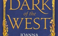 "Cover for Dark of the West; a dark blue background with a gilded frame adorned with shapes (a horse, a plane, a bird, a crown), the title ""Dark of the West"" is written in golden lettering"