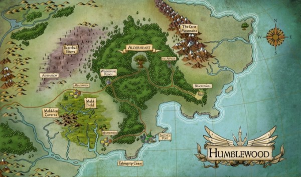 map of the Humblewood setting