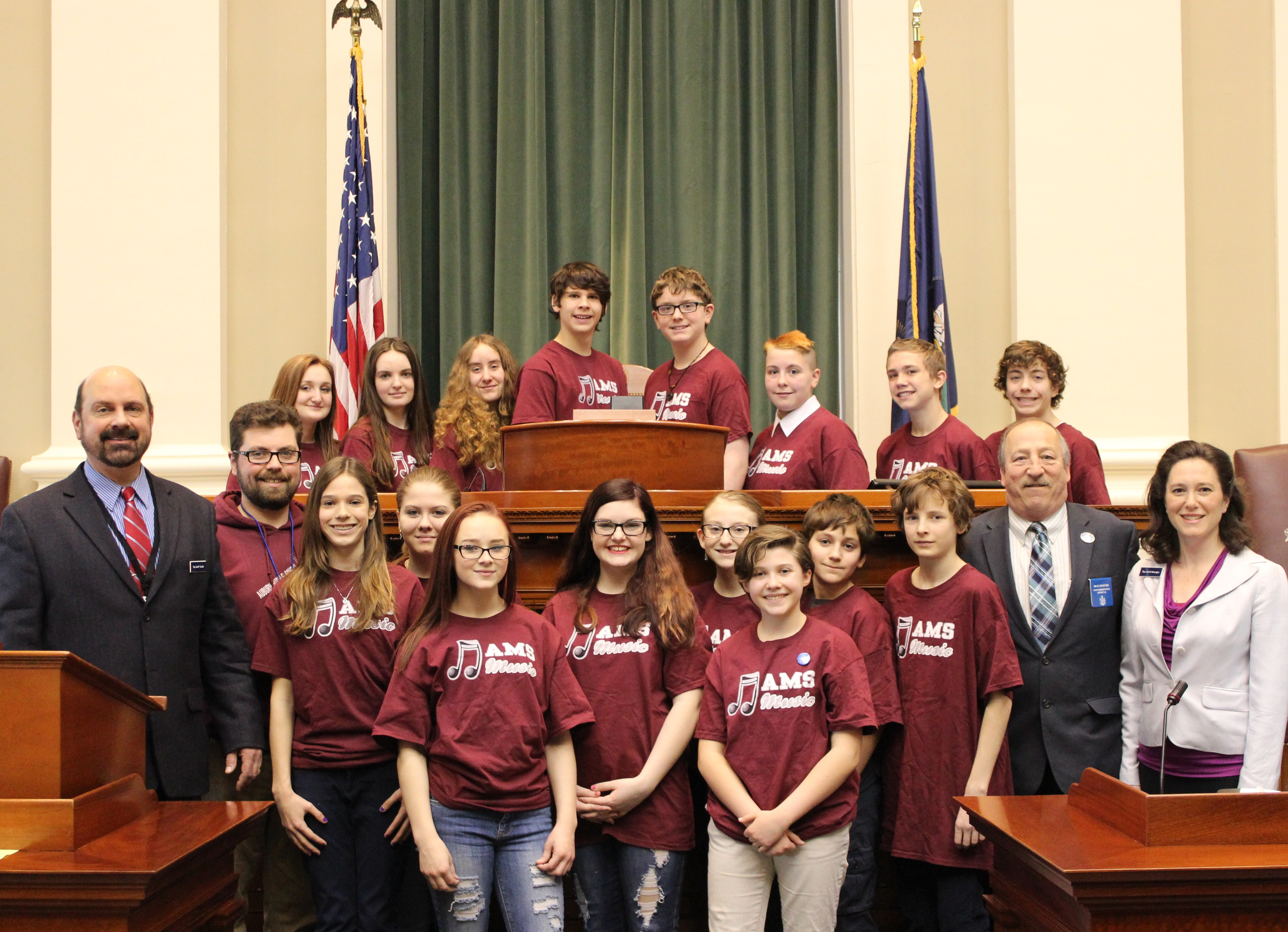 Middle School Select Choir Sings At State House