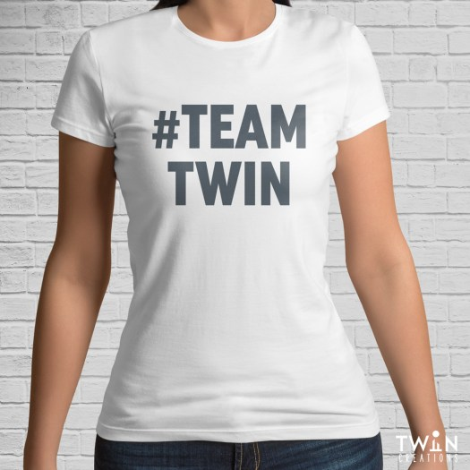 #TEAMTWIN Bold T-Shirt White with Grey