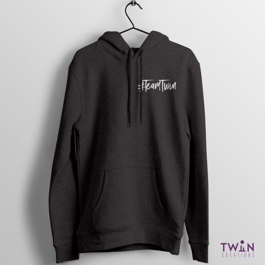Team Twin Hoodie Small Design Charcoal