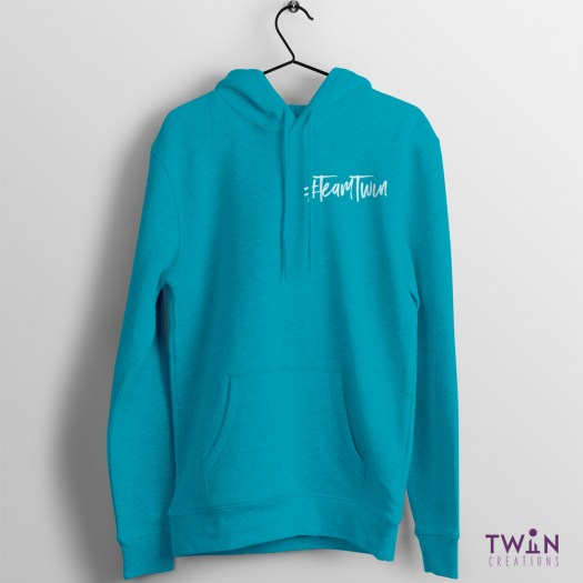 Team Twin Hoodie Small Design Teal