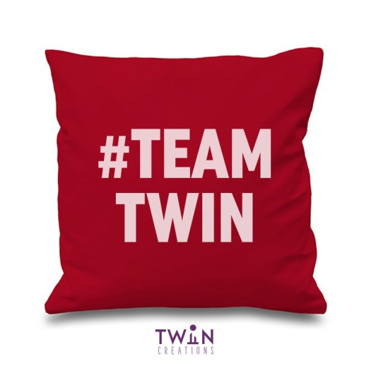 #TEAMTWIN bold cushion cover maroon