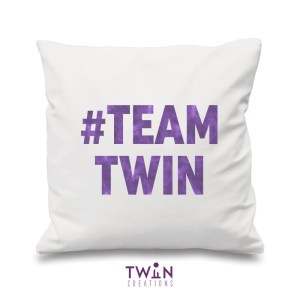 #TEAMTWIN bold cushion cover white