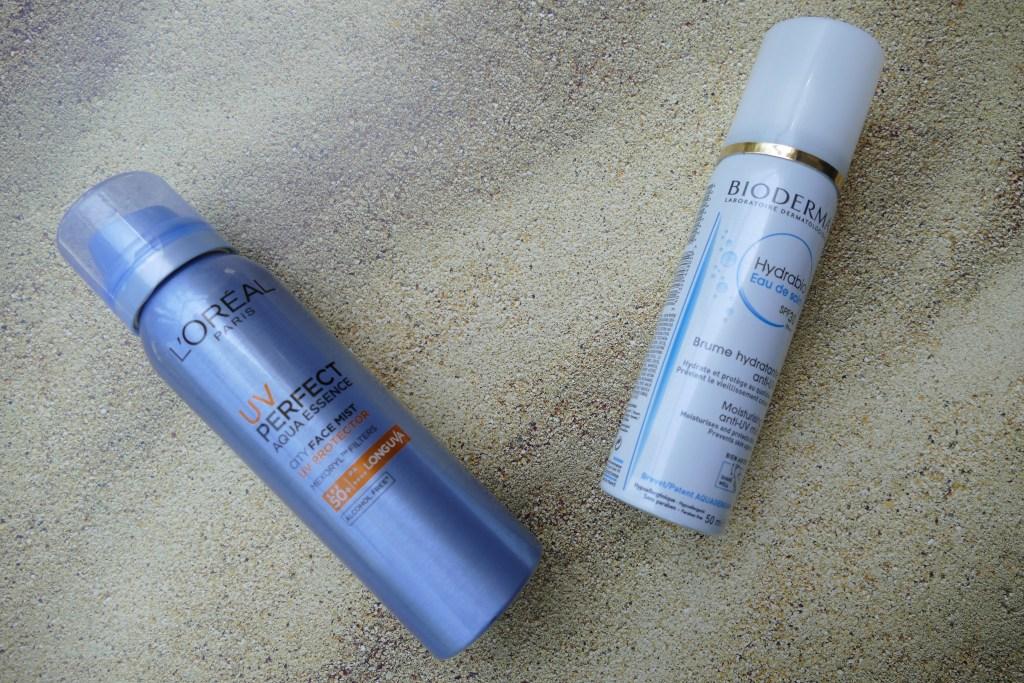 Comparison between L'Oreal UV Perfect Aqua Essence City Face Mist and Bioderma Hydrabio Eau de Soin SPF30 Moisturising anti-UV mist
