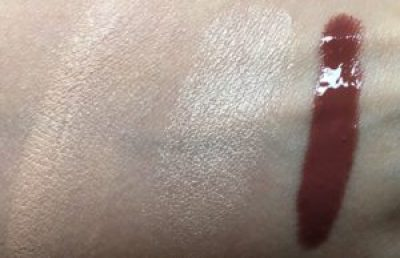 fair skin swatches foundation and highlighter