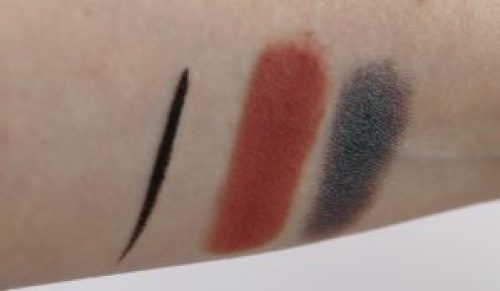 Swatches of best eyeliners and eyeshadows