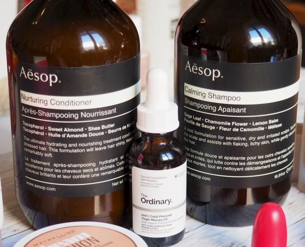 Aesop Calming Shampoo and Nurturing Conditioner, The Ordinary 100% Organic Cold Pressed Virgin Marula Oil