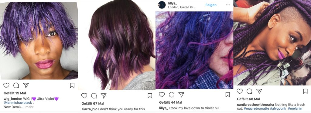 Pantone Ultra Violet hair inspo