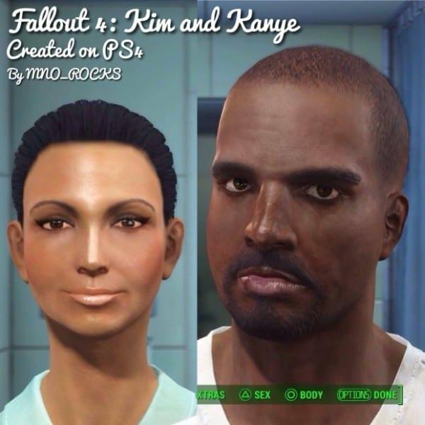Fallout 4, character creation, Kim Kardashian, Kanye West