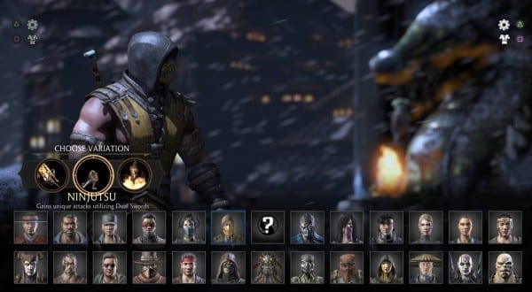 Mortal Kombat X character select