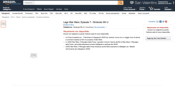 amazon italy lego star wars game episode 7