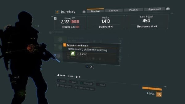 The Division, deconstruct, junk, craft, materials, how to