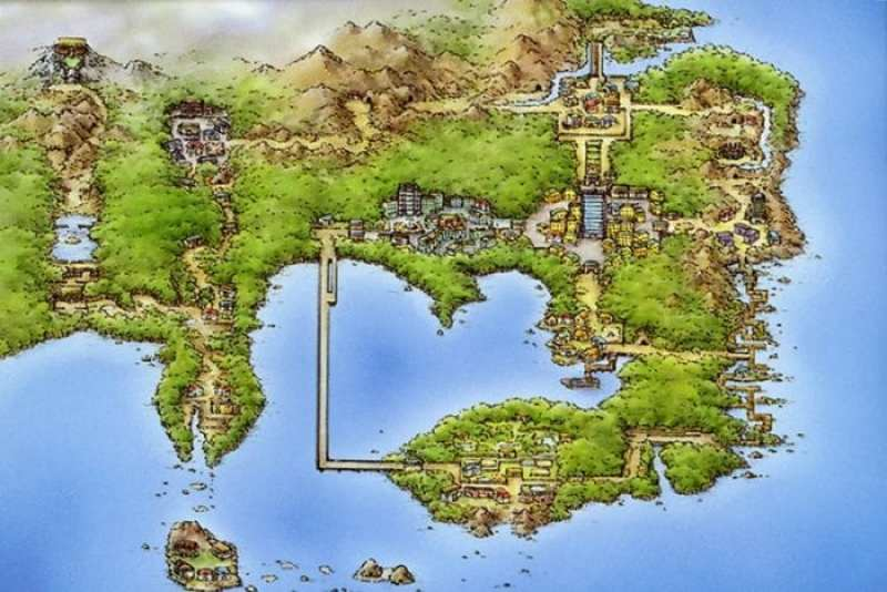 The Kanto region from the Pokémon series.