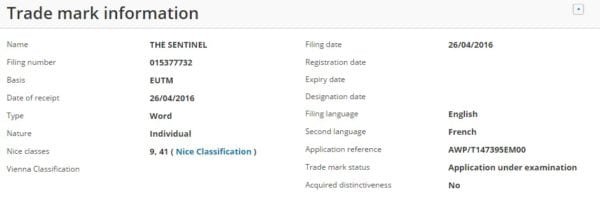 The Sentinel sony europe new game trademark