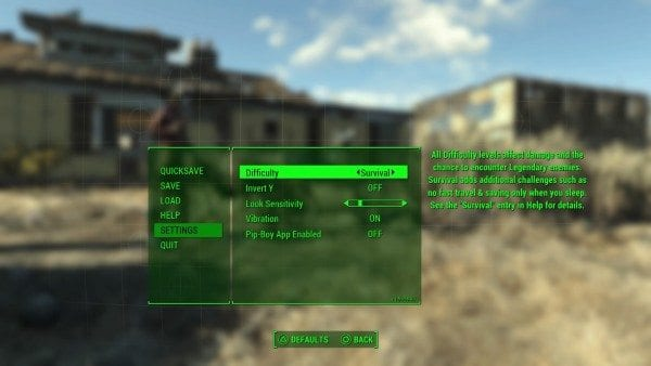 Fallout 4, survival mode, Xbox One, PC, PS4, how to, start, guide