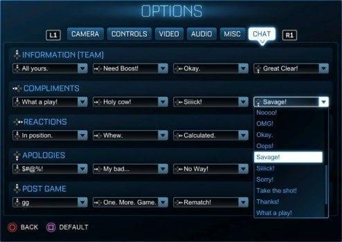 Rocket League New Chat
