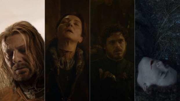 Eddard Stark, Catelyn Stark, Robb Stark, Rickon Stark