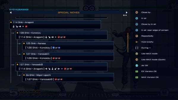 The King of Fighters XIV, Kyo Move List