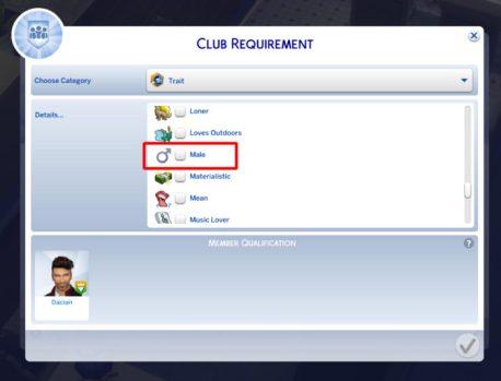 Gender Club Requirement