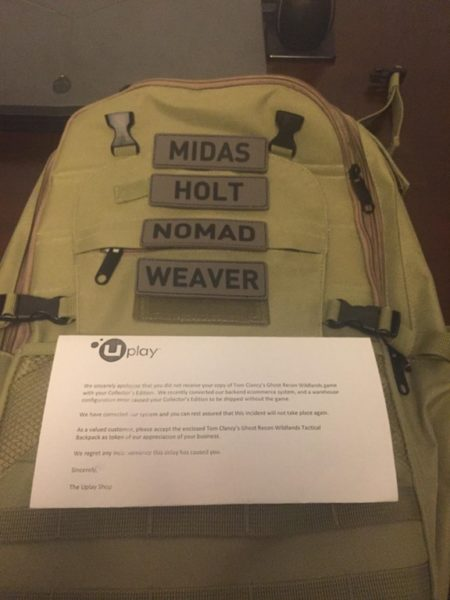 Ghost Recon Backpack Apology