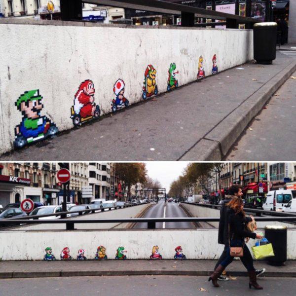 mario kart, street art, gaming