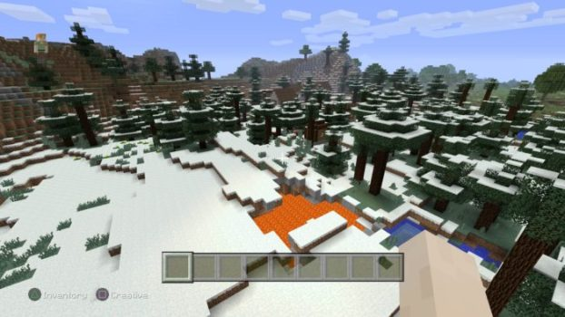 Snowy Town With Lava Pit - Seed # -3299558837207229892