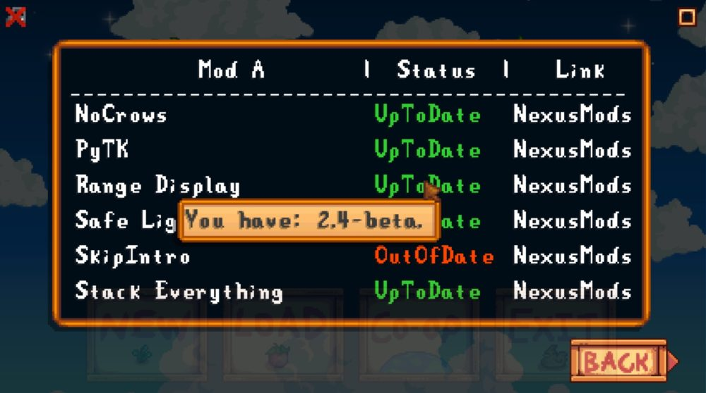 mod, update menu, stardew valley