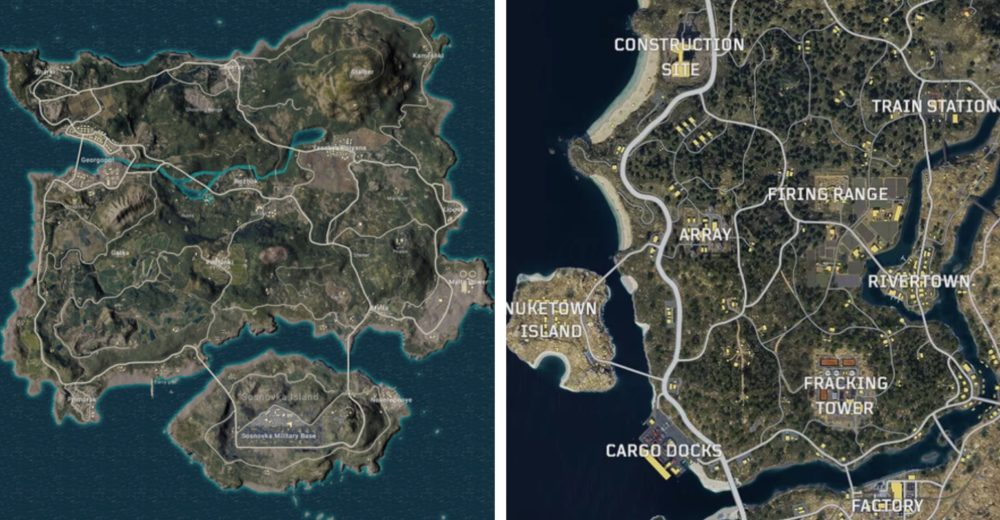 PUBG vs. Blackout, Map