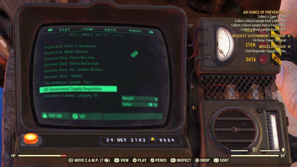 Fallout 76 CAMP Pip-Boy