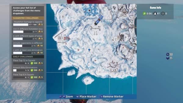 Fortnite, where to search between three ski lodges