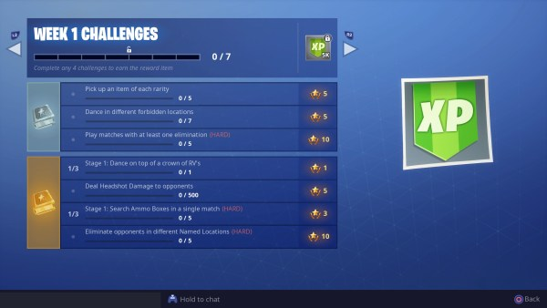Fortnite, season 7 week 1 challenges