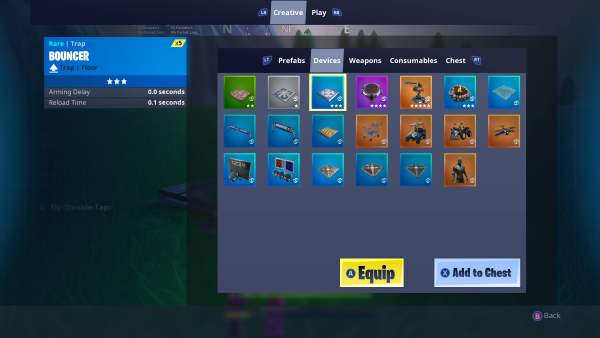 Fortnite, Place Devices in Creative Mode
